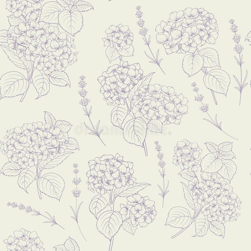 Shabby chic style pattern with blooming hydrangea. vector illustration