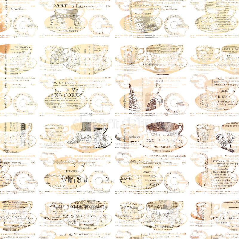 Shabby chic teacup pattern. A collage of teacups on saucers and news print create a shabby chic pattern with a distressed look royalty free stock photo