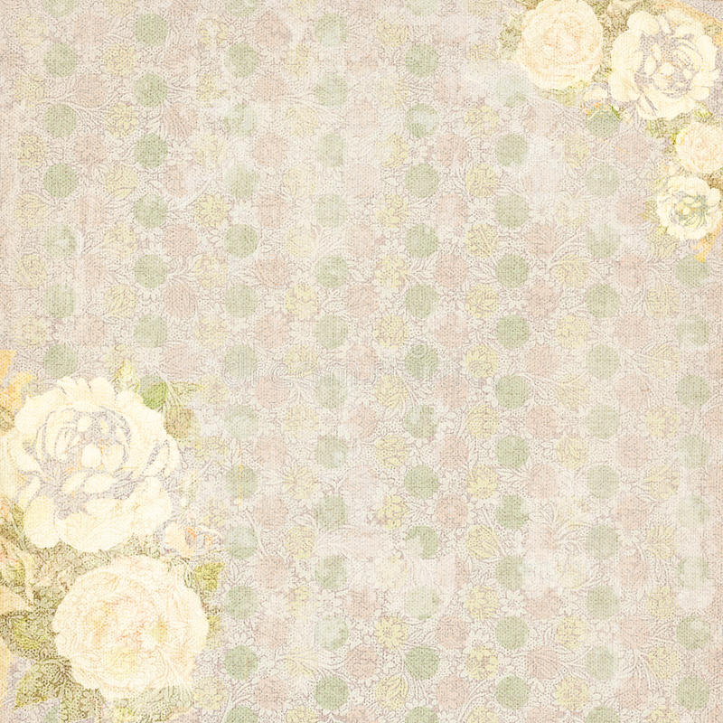 Download Shabby Chic Vintage Floral Background With Roses Stock Illustration