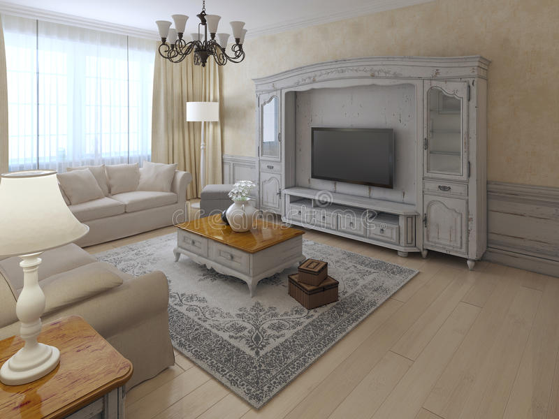 Shabby-chil interior of lounge. In soft cream and beige colors. Spacy room with classic-styled wall system, ecru plastered walls, light wooden flooring. 3D stock illustration