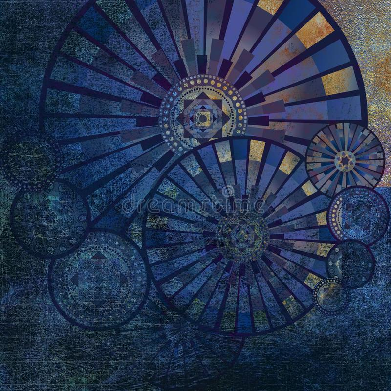 Shabby colored geometrical pattern on dark background stock illustration