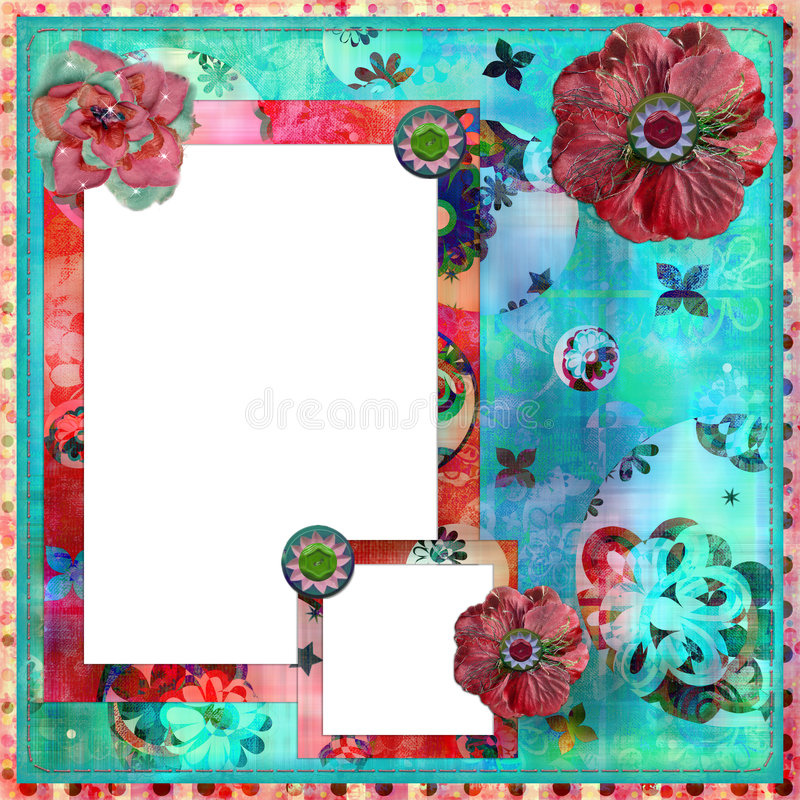 Shabby Floral Photo Frame/Scrapbooking Background Stock Images