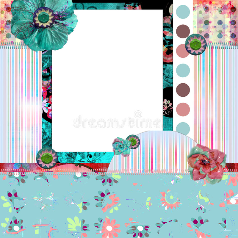 Shabby Floral Photo Frame/Scrapbooking Background Royalty Free Stock Images