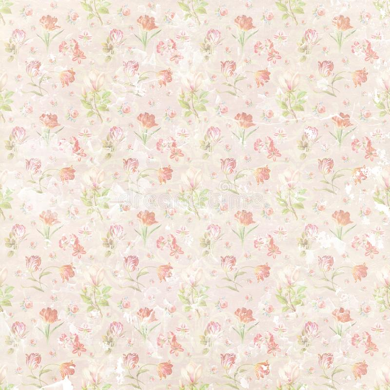 Shabby flourish repeat pattern paper wallpaper. Template for decoration and design royalty free illustration
