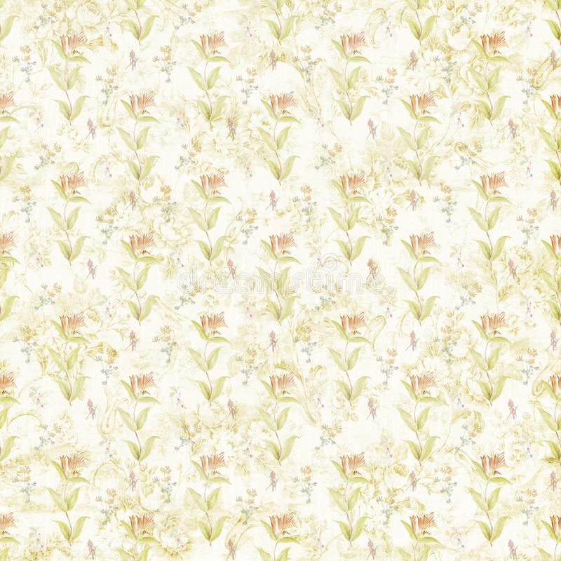 Shabby old botanic flourish pattern paper texture. Template for decoration and design vector illustration