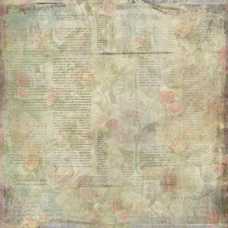 Shabby old vintage written floral paper texture stock photo