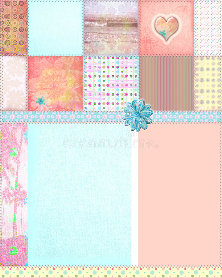 Shabby Quilt Montage Background vector illustration