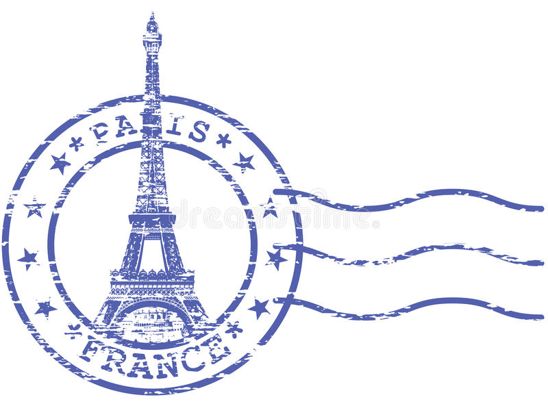 Shabby stamp with Eiffel tower stock illustration