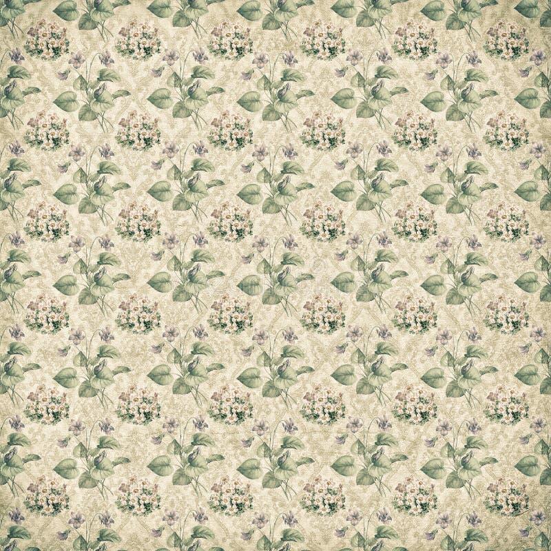 Shabby vintage antique floral wallpaper stock photo