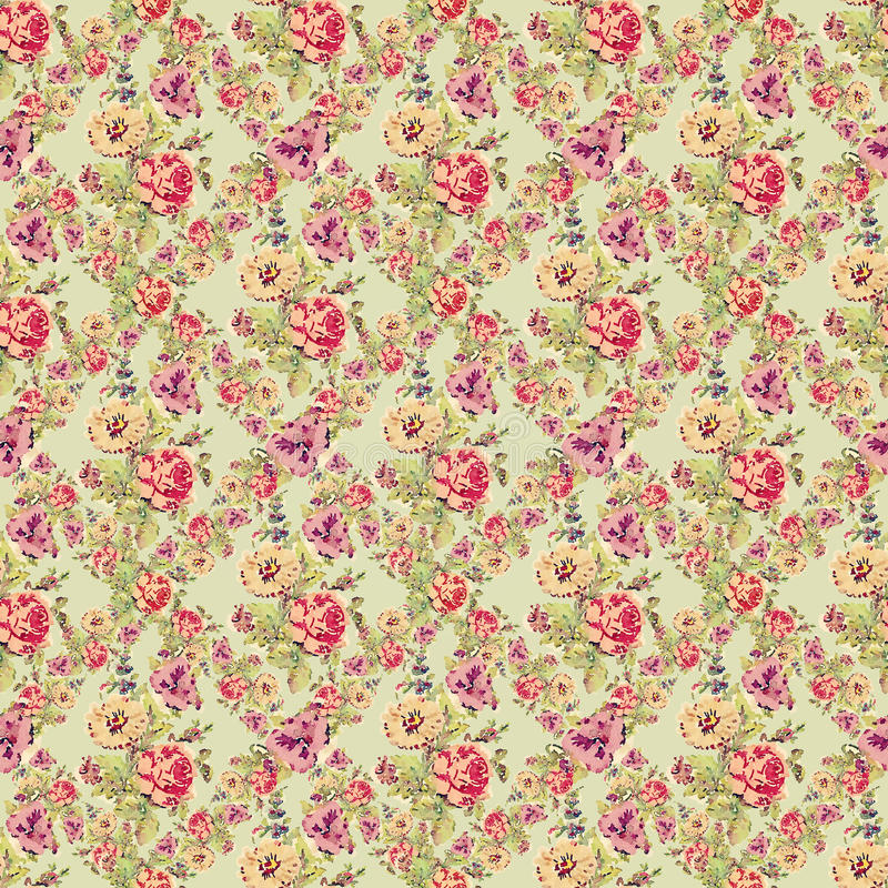 Shabby Vintage Roses Floral Background Repeat Stock Illustration