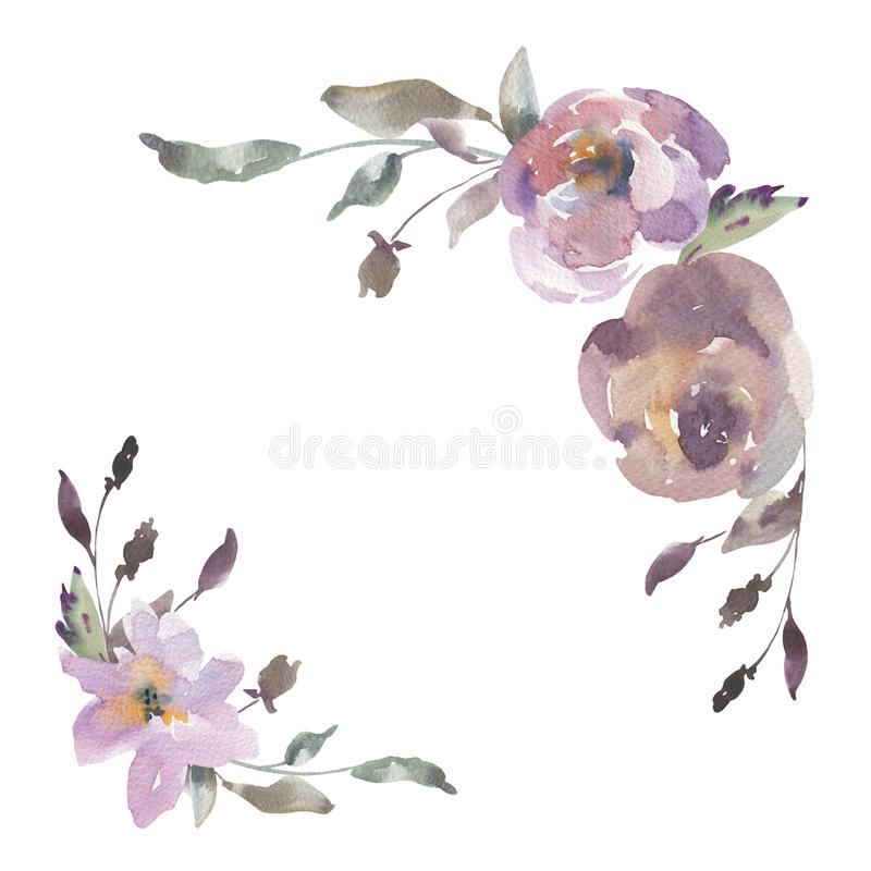 Shabby Vintage Watercolor Floral Greeting Card, Watercolor Roses in Dust Pink Colors stock illustration