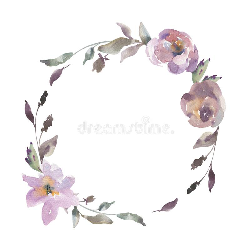 Shabby Vintage Watercolor Floral Round Frame, Natural Greeting Card vector illustration