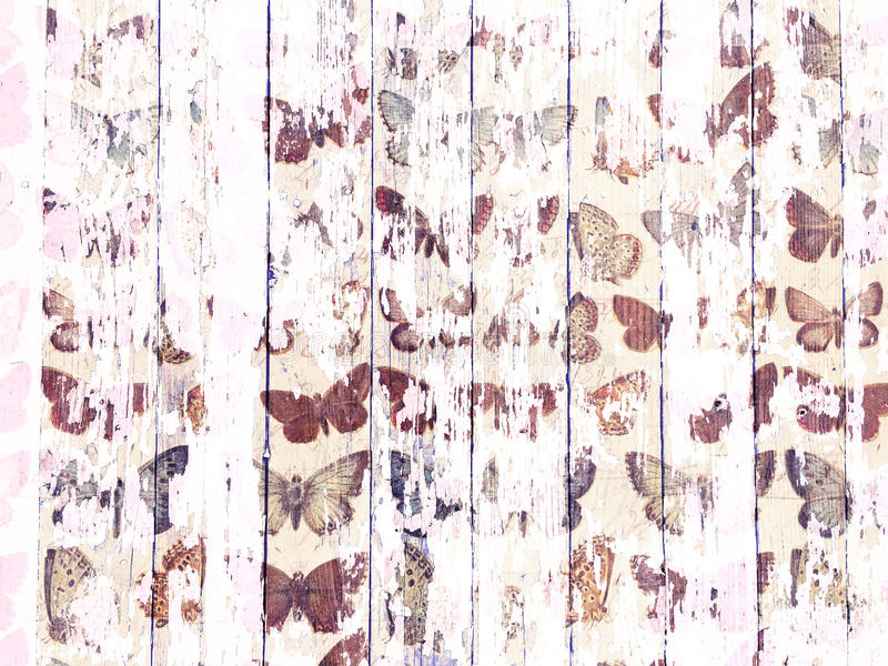 Shabby wood-grain texture white washed with distressed butterfly pattern. Shabby distressed wood-grain peeling paint texture white washed with butterfly pattern stock photography