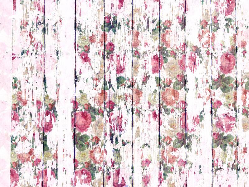 Shabby wood-grain texture white washed with distressed roses pattern stock photo