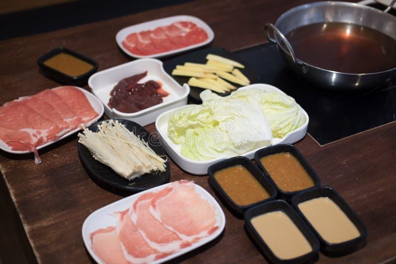 Shabu Shabu een populaire schotel van varkensvlees royalty-vrije stock afbeeldingen