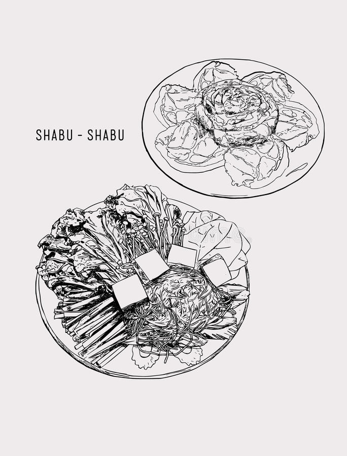 Shabu set objects drawing graphic design objects.pork / vegetab. Shabu set objects drawing graphic design objects. pork / vegetables set. happy meal for family vector illustration