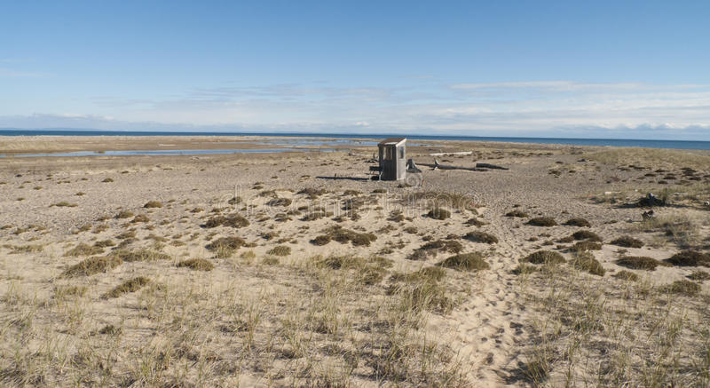Shack on Lake Superior beach royalty free stock images