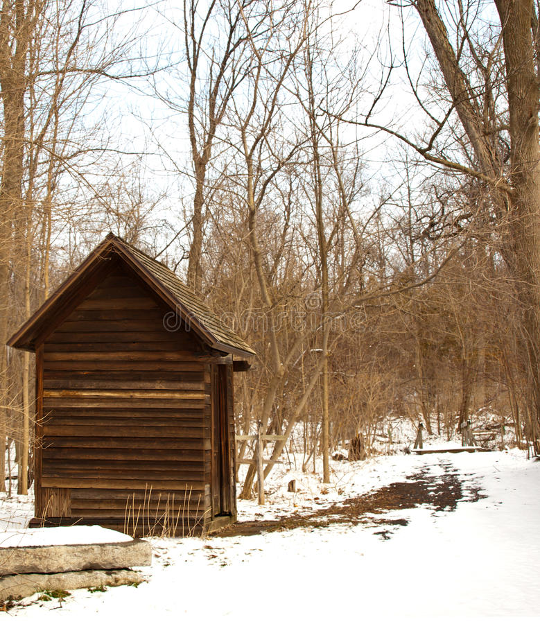 Shack in the woods. In winter royalty free stock photo