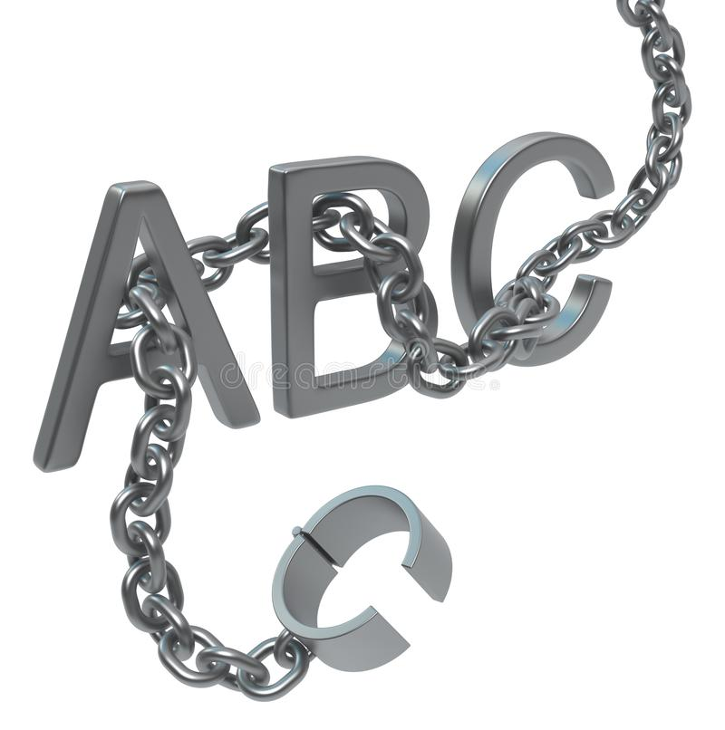 Shackles Metal Chain Three Letters royalty free stock photo