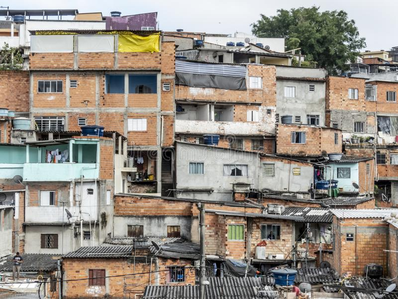 Shacks in the favellas,a poor neighborhood in Brazil. Sao Paulo, Brazil, Ocotber 15, 2018. Shacks in the favellas,a poor neighborhood in Sao Paulo, big city in royalty free stock images