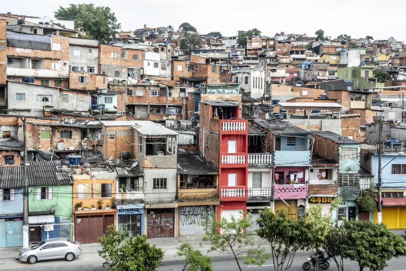Shacks in the favellas,a poor neighborhood in Brazil. Sao Paulo, Brazil, Ocotber 15, 2018. Shacks in the favellas,a poor neighborhood in Sao Paulo, big city in stock photos