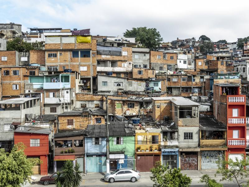 Shacks in the favellas,a poor neighborhood in Brazil. Sao Paulo, Brazil, Ocotber 15, 2018. Shacks in the favellas,a poor neighborhood in Sao Paulo, big city in stock images