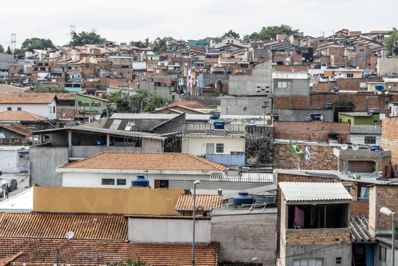Shacks in the favellas,a poor neighborhood in Sao Paulo, big city in brazil. Sao Paulo, Brazil, November 06, 2018. Shacks in the favellas,a poor neighborhood in stock image