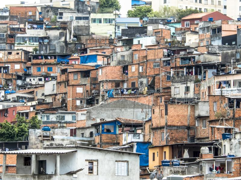 Shacks in the favellas,a poor neighborhood in Sao Paulo, big city in brazil. Sao Paulo, Brazil, Ocotber 15, 2018. Shacks in the favellas,a poor neighborhood in stock image