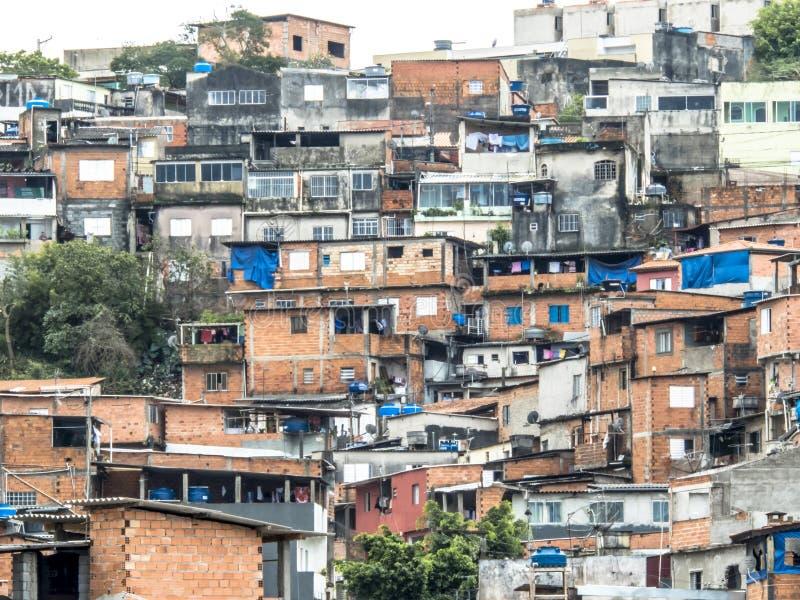 Shacks in the favellas,a poor neighborhood in Sao Paulo, big city in brazil. Sao Paulo, Brazil, Ocotber 15, 2018. Shacks in the favellas,a poor neighborhood in royalty free stock photo