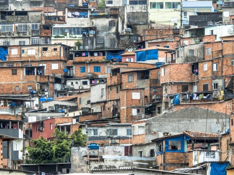 Shacks in the favellas,a poor neighborhood in Sao Paulo, big city in brazil. Sao Paulo, Brazil, Ocotber 15, 2018. Shacks in the favellas,a poor neighborhood in stock photography