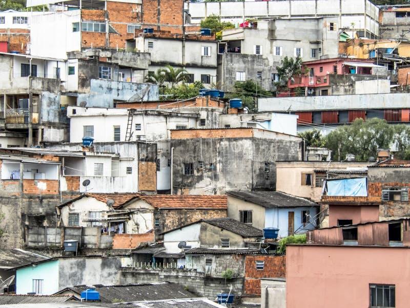Shacks in the favellas,a poor neighborhood in Sao Paulo, big city in brazil. Sao Paulo, Brazil, Ocotber 15, 2018. Shacks in the favellas,a poor neighborhood in royalty free stock photos