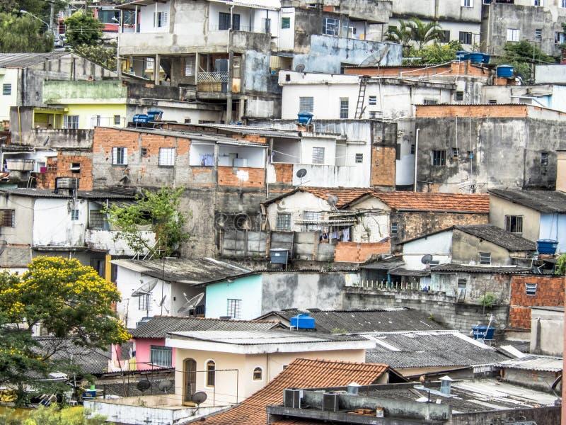 Shacks in the favellas,a poor neighborhood in Sao Paulo, big city in brazil. Sao Paulo, Brazil, Ocotber 15, 2018. Shacks in the favellas,a poor neighborhood in royalty free stock image