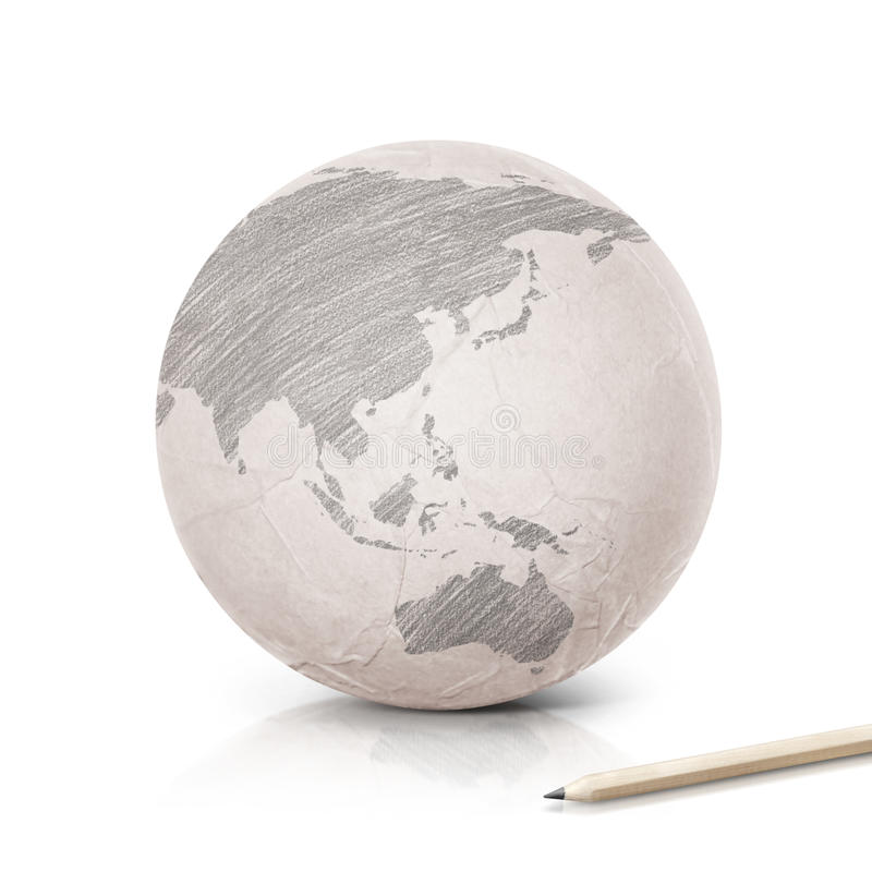 Shade Asia & Australia map on paper globe. On white background royalty free stock photo