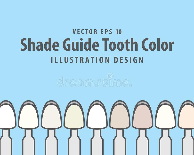 Shade Guide Tooth Color illustration vector on blue background. Dental concept vector illustration