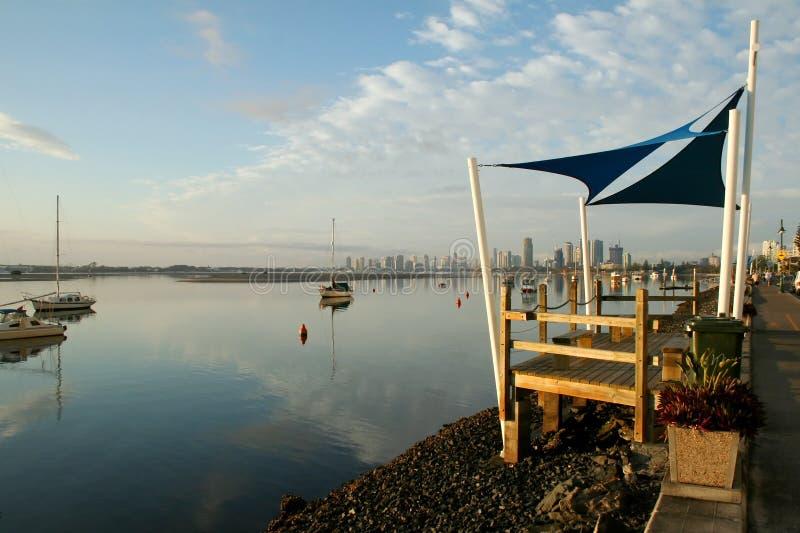 Shade Sails At Sunrise stock photo
