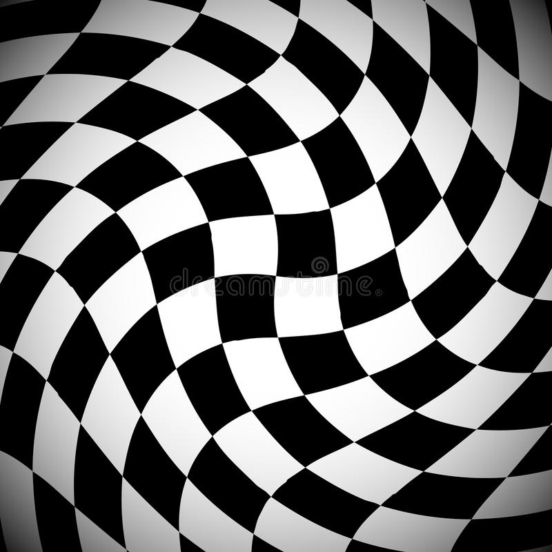 Shaded checkered pattern with spirally distortion effect. Checked pattern with vortex deformation, black and white background.- Royalty free vector royalty free illustration
