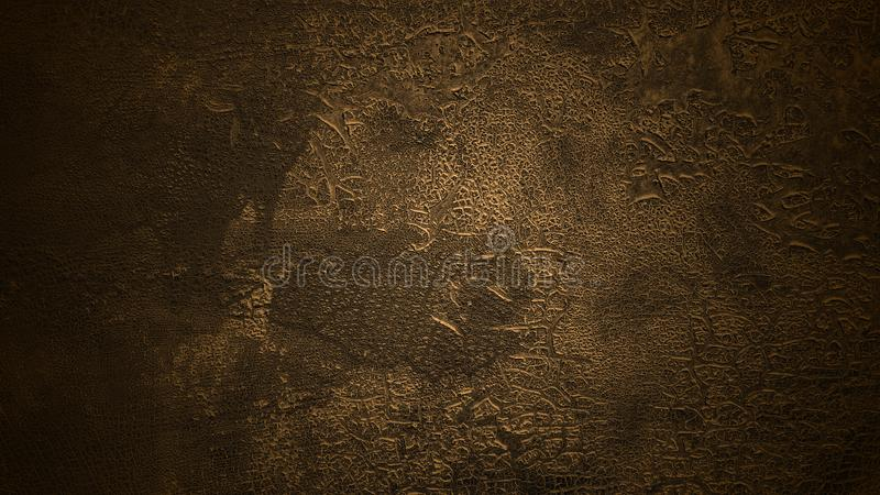 Shaded deep brown background. Old cracked surface. Aged flaking dyed leather texture stock photos