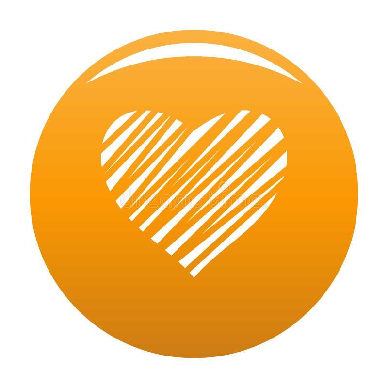 Shaded heart icon vector orange vector illustration