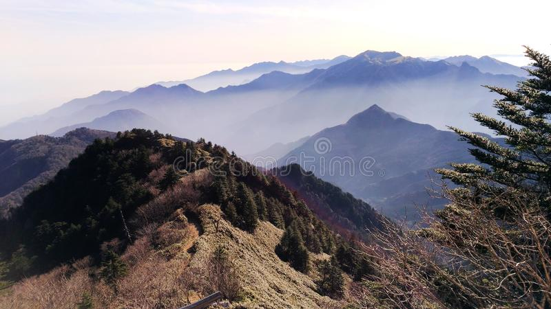 Shaded japanese mountains. Asia travel, Japan, Shikoku island, Ishizuchi San hike, amazing trekking, incredible shade of colors that marks the crest of different royalty free stock photography