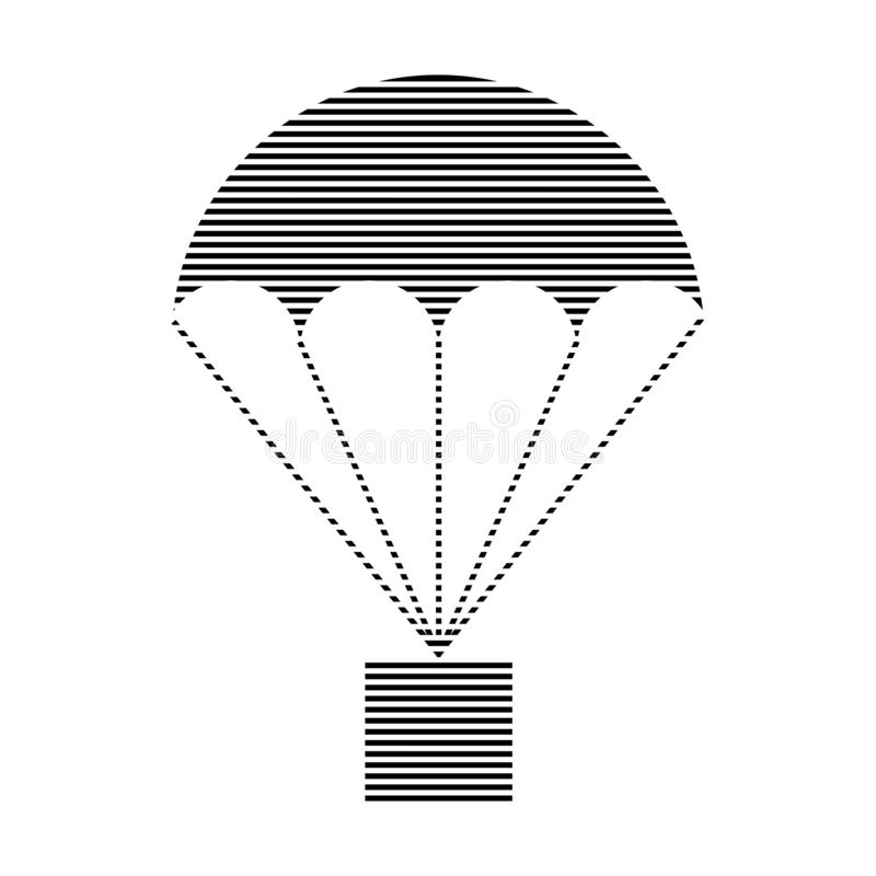 Shaded Parachute with parcel sign. Barcode sign royalty free illustration