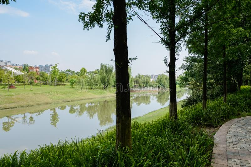 Shaded riverside path with city in background on sunny summer da. Shaded riverside path with the city in the background on sunny summer day,Chengdu,China royalty free stock photo