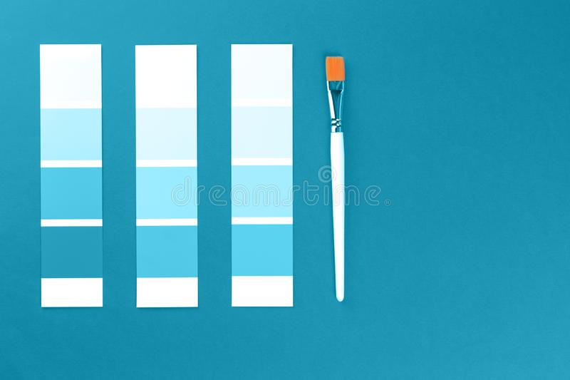 Shades of blue color swatches with a brush stock photo