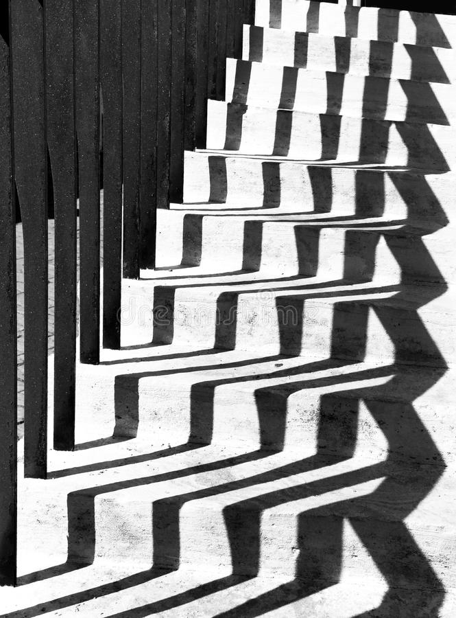 Shades geometrical shapes on stairs. royalty free stock photo
