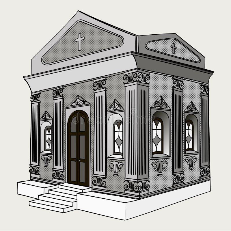 Shades of gray, raster. Crypt, cemetery, church, building. Shades of gray, raster illustration. Crypt, cemetery church building royalty free illustration
