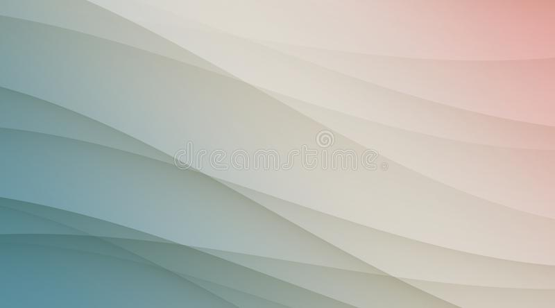 Shades of soft translucent blue white and pink smooth diagonal curves luxury background template. Abstract geometric graceful and smooth diagonal curves vector illustration