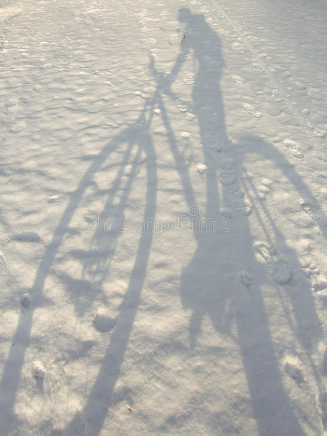 Shadow of bicycle royalty free stock photography