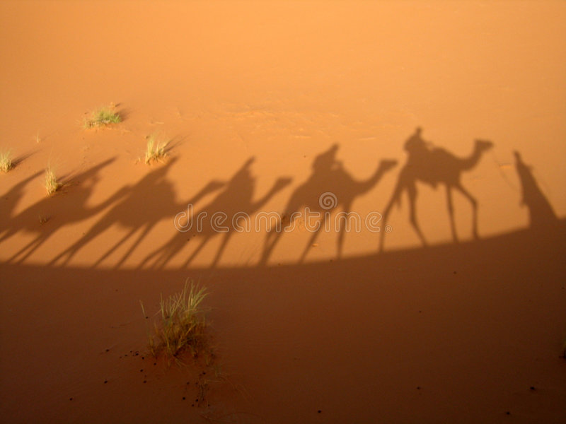 Shadow of caravan stock photo