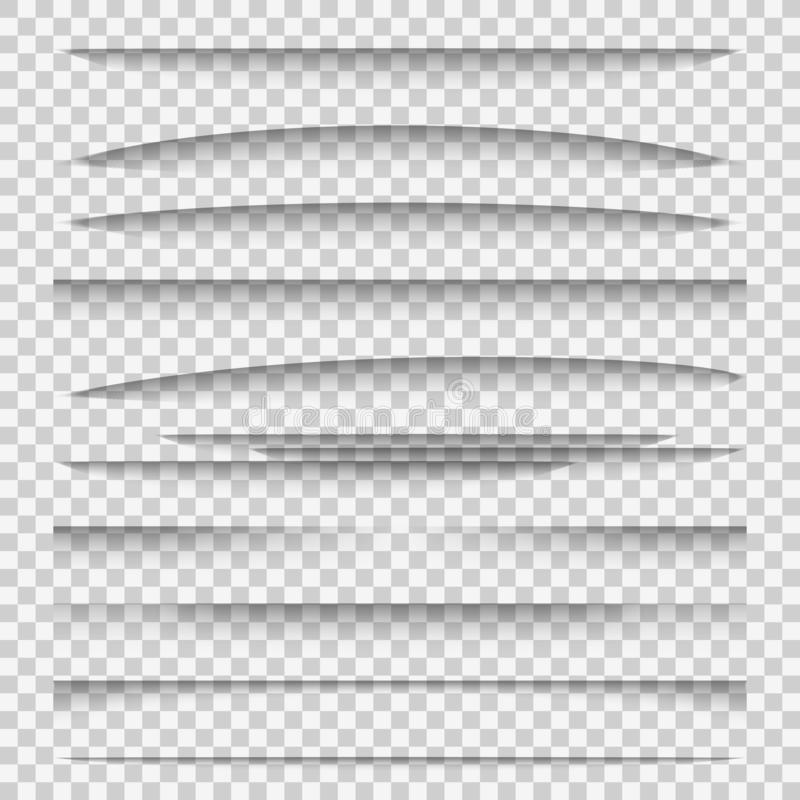 Shadow dividers. Line paper design panel shadow effects divider webpage edge template tabs group, web frame elements vector illustration