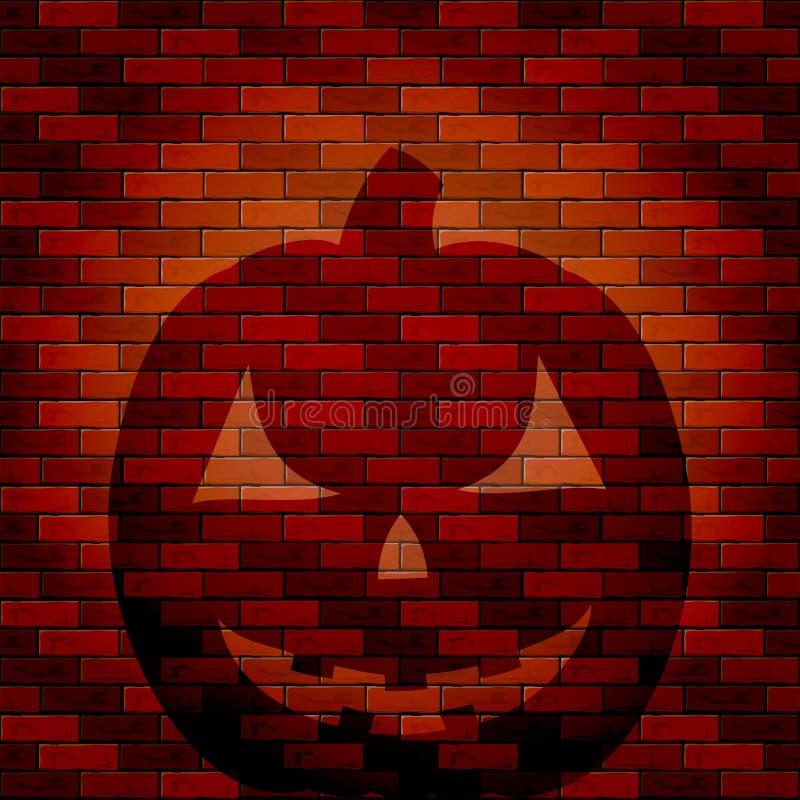 Shadow of Halloween pumpkin on a brick wall royalty free illustration