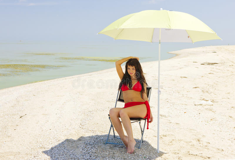 Shadow On A Hot Beach. Royalty Free Stock Photo